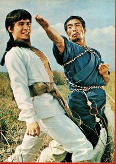 Fu Sheng battles Tsai Hung in this still from SHAOLIN AVENGERS (1976)