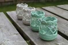 Potjes voor waxinelichtjes haken. Crocheting over small glass jars (Dutch pattern)
