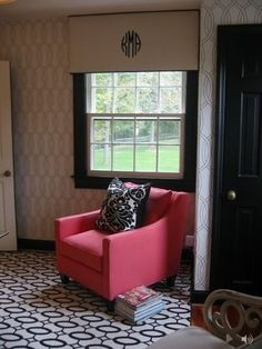 Window cornice with monogram- some variation of this for den or informal living room