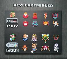 "Nik F (@pixelartperler) on Instagram: ""The Legend of Zelda NES + A Link to the past SNES - Perler Beads (Hama) on painted canvas (80x60cm)…"""