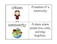 FREE set of 26 illustrated vocabulary cards for communities, needs and wants, and more. Lovely!