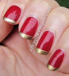 Red and gold Christmas manicure - easy nail art, with gold french tipped nails