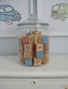 Cookie jars are not only handy for organizing small toys - They also make wonderful display items.