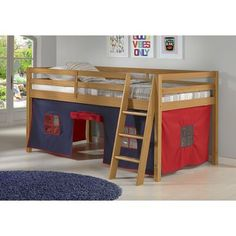 Zoomie Kids Gladwin Junior Twin Low Loft Bed with Tent Bed Frame Colour: Cinnamon, Accessory/Fabric Colour: Blue/Red Bunk Bed With Trundle, Twin Bunk Beds, Junior Loft Beds, Bed Tent, Up House, Under Bed, Wood Beds, Space Furniture, Furniture Ideas