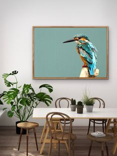 This beautiful, vivid kingfisher is captured in front of a turquoise linen background. The perfect piece for any bird lover looking for something beautiful and bold. Art Prints For Home, Framed Art Prints, Home Art, Bird Canvas, Canvas Wall Art, Turquoise Wall Art, Cheap Wall Art, Contemporary Art Prints, Cool Art Drawings