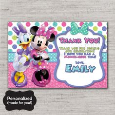 Minnie Mouse gracias tarjeta tarjeta de TY de Minnie por MLMInvites Minnie Mouse Birthday Invitations, Minnie Birthday, Minnie Mouse Party, Mouse Parties, Baby Birthday, Birthday Ideas, Birthday Thank You Cards, Happy Birthday Messages, Minnie Y Daisy