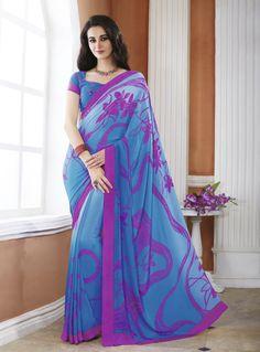Blue Crepe Casual Wear Saree 82763