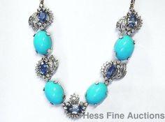 18k Gold Fine Diamond Natural Sapphire Blazing Robin Egg Blue Turquoise Necklace #NecklaceStatement