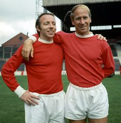 Nobby Stiles and Bobby Charlton at Old Trafford, 1969.