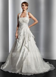 A-Line/Princess Halter Court Train Taffeta Organza Wedding Dress With Ruffle Lace Beading (002014817) - JJsHouse