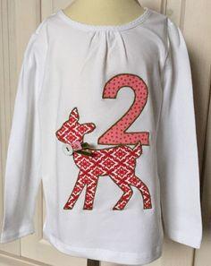 Langarmshirts - **Geburtstagsshirt Bambi/Reh 2 Jahre** - ein Designerstück von happy-bags bei DaWanda