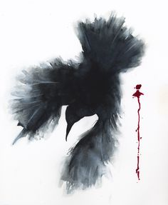Watercolor of a raven with a red drip, by Jake Marshall.
