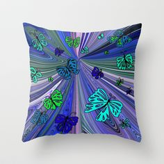OH YEAH -BUTTERFLY MANIA 2 Throw Pillow by  RokinRonda - $20.00