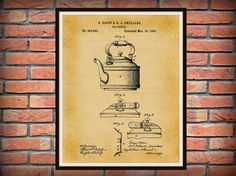 Patent 1889 Tea Kettle  Art Print  Kitchen by BlueMoonPatentPrints