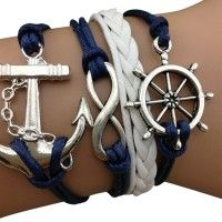 "Blue Sailor Arm Party Bracelet - love ""the anchor"" & ""infinity"".....all relate to ""navigating through life"""
