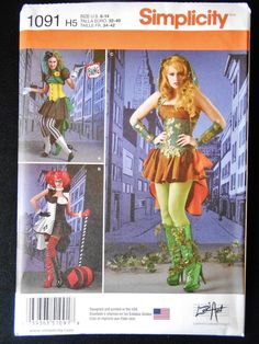 Simplicity 1091 Misses Villainess Cospley Harley Quinn Pattern Costume Pattern #Simplicity