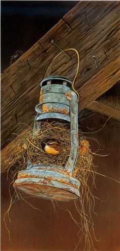 Repurposed Lantern - new home to an adorable rustic bird nest