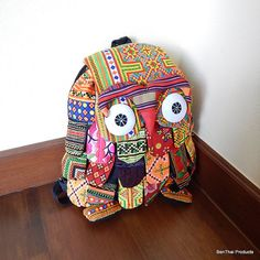 Hmong Owl Backpack Bag Patchwork Rucksack Thai by BenThaiProducts