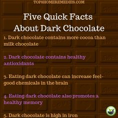Learn more about the benefits of eating dark chocolate with this article.