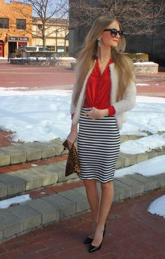 Sweets and Style Just Right: black and white striped pencil skirt with pops of red & leopard