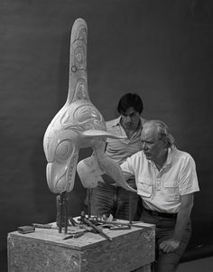 Caption: Bill Reid and Jim Hart with the plaster model for Skaana—Killer Whale, Chief of the Undersea World (1984), c.1982–84, photograph by Tony Westman; Credit: Collection of The Bill Reid Centre at Simon Fraser University, Burnaby. Courtesy of The Bill Reid Centre, Burnaby. © Tony Westman Photography; Iljuwas Bill Reid | Art Books | Art Canada Institute; #billreid #canadianartist #indigenousartist #northwestcoast #haida #sculpture #whale Jim Hart, Credit Collection, Bill Reid, Vancouver Aquarium, Undersea World, Beneath The Sea, Spirit World, Time Painting, Killer Whales