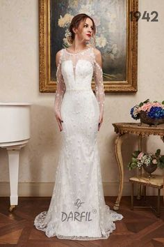 Mermaid wedding dress with see-through back and cropped out shoulders/ off the shoulder long sleeves. The key point of the dress is the floral lace, delicately scattered across the whole piece. Lace Mermaid Wedding Dress, Wedding Dresses, Fit And Flare Wedding Dress, Flowy Skirt, Princess Style, Floral Lace, Wedding Bride, Off The Shoulder, Fashion Dresses
