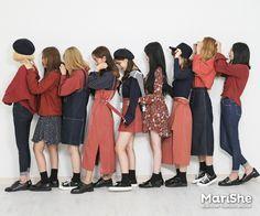 korean fashion similar twin look red bright navy blue skirt shirt dress black shoes Asian Street Style, Korean Street Fashion, Korea Fashion, Kpop Fashion, Asian Fashion, Girl Fashion, Fashion Looks, Fashion Outfits, Fashion Design