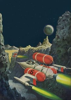 By Alex Schomburg. Cover detail for Satellite Science Fiction August 1959 / TOMORROW & BEYOND