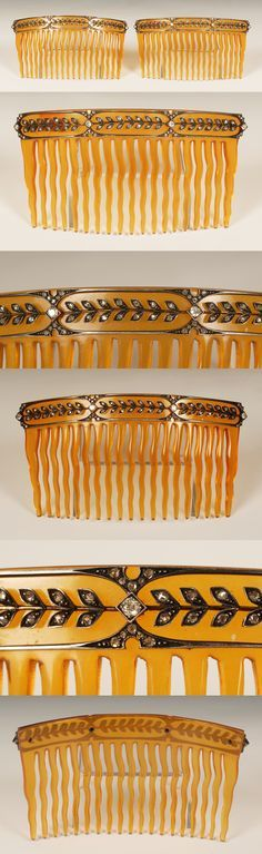 A pair of diamond-set tortoise shell hair combs, circa 1910. Each comb is decorated with a band of running leaf tips set with diamonds, probably by Fabergé.