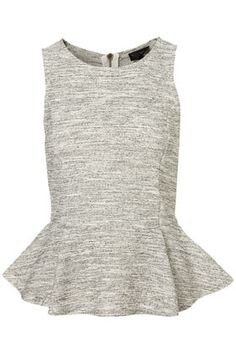 Sleeveless Boucle Peplum Top