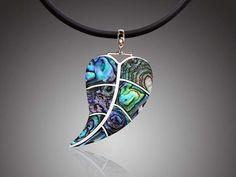 abalone+jewelry | Green Abalone Paua Shell Drop Leaf Sterling Silver Pendant Jewelry