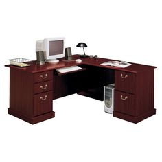 Awesome Cherry Finished Corner Computer Desk With Drawers Cabinet Base As Well As Corner L Shaped Desk Also L Corner Desk