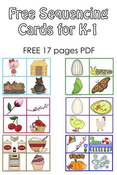 Free Sequencing Cards and Color Matching for Pre free printables for sequencing picture story cards, colors, and a game. Best Picture For Montessori Activities music For Your Taste You are l Story Sequencing Pictures, Story Sequencing Worksheets, Sequencing Cards, Sequencing Activities, Preschool Literacy, Free Preschool, Kindergarten Writing, Language Activities, Subtraction Worksheets