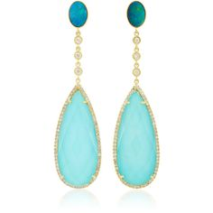 Meira T 14K Gold, Turquoise Opal and Diamond Earrings ($2,010) ❤ liked on Polyvore featuring jewelry, earrings, blue, gold opal earrings, yellow gold earrings, 14k gold jewelry, gold earrings and turquoise earrings