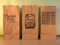 Print on paper bags. Good idea for craft shows.