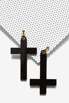 I Still Love You NYC Right Side Wrong Side Cross Earrings | Shop Accessories at Nasty Gal!