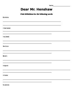 Worksheets Dear Mr Henshaw Worksheets dear mr henshaw beverly cleary novel study reading henshaw