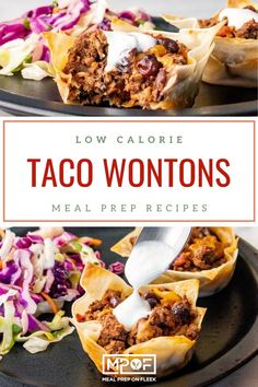 Taco Wontons - Meal Prep on Fleek™ Paleo Meal Prep, Lunch Meal Prep, Lunch Recipes, Paleo Recipes, Dinner Recipes, Cilantro Lime Slaw, Coleslaw Mix, Wontons, Low Calorie Recipes