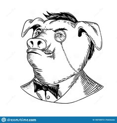 Drawing sketch style illustration of a noble aristocratic pig wearing a monocle and business suit with tie or tuxedo looking up on isolated white background in black and white Pig Drawing, Drawing Sketches, Drawings, Art And Illustration, Inktober, Party Food Themes, Graffiti Characters, Black And White Drawing, Wedding Ties