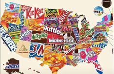 A New Map Shows Every State's Favorite Candy (Do You Agree? Best Halloween Candy, Dulces Halloween, Hershey Pie, Clover App, Candy Games, Toblerone, Jolly Rancher, Favorite Candy, Paris