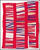 Bars and String-Piece Columns, 1950s, cotton, 95x76 inches, by Jessie T. Pettway (b. 1929)