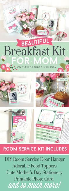 I am in LOVE with this Beautiful Breakfast Kit for Mom! This pack has everything- a cute door hanger, food toppers, and gifts! - www.TheDatingDivas.com