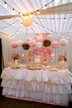 Fiestita en tonalidades rosa y dorado ideas para fiestas for Decoracion de cumpleanos rosa y dorado