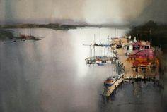 John Lovett - Macquarrie Harbour from the hotel balcony, Strahan.