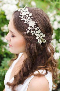 Bridal lace headband  ivory wedding headpiece by AlinaMartDesign, $35.00