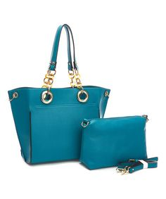 Fabulous Age Teal Chain Tote & Crossbody Bag   zulily