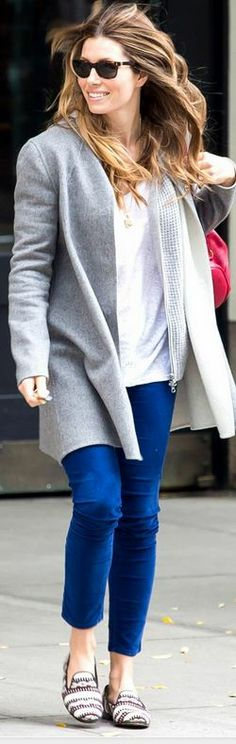 Who made  Jessica Biel's gray coat that she wore in New York?
