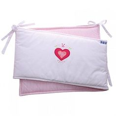 Designer baby nursery bedding with a sweet pink heart applique. This stunning bumper is made from high quality cottons and is characterised by a hand embroidered pink heart. Cot Bed Bumper, Bed Bumpers, Baby Nursery Bedding, Cot Bedding, Little Valentine, Soft Furnishings, Diaper Bag, Bed Pillows, Pink