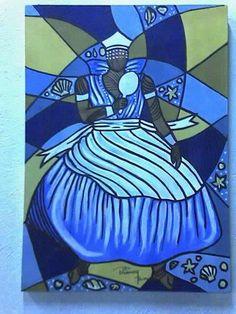 Iemanjá acrílico s/tela 70x50 pintado por Bianca Branco
