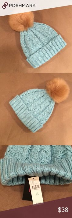 NWT Anthropologie Light Blue Beanie This adorable beanie is brand new with tags and has never been worn. Please let me know if you have any questions.   No trades. Anthropologie Accessories Hats